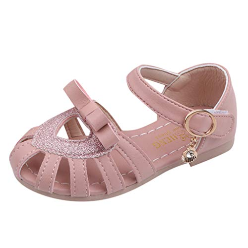 Respctful✿Summer Baby Girls Closed Toe Sandals Bowknot Soft Rubber Sole First Walker Shoes for Toddler Princess Flats Pink