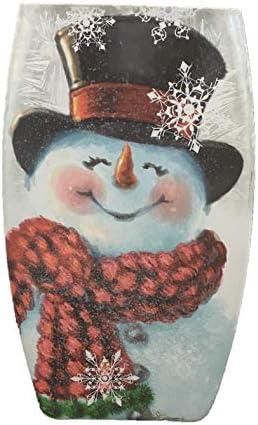 Stony Creek 8″ Joyful Snowman Lighted Glass Vase DGH8275-B