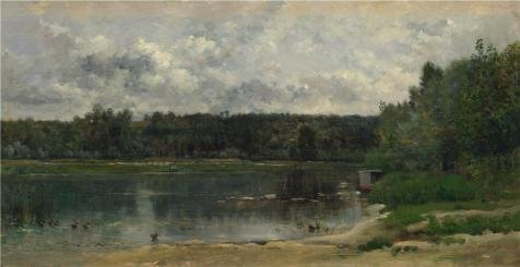 Oil Painting 'Charles-Franois Daubigny - River Scene With Ducks,1859' 24 x 47 inch / 61 x 118 cm , on High Definition HD canvas prints is for Gifts And Foyer, - Sunglasses 1973 Viking