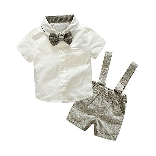 Tem Doger Baby Boys Cotton Gentleman Bowtie Short Sleeve Shirt+Overalls Shorts Outfits Set (Grey, 95/18-24 Months) -