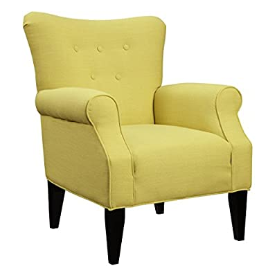 Emerald Home Lydia Sensu Citrine Accent Chair with Button Tufting And Roll Arms - The Lydia accent chair is a stunning, yet comfortable and classic seating choice Exemplifies contemporary style in a citrine color palette, bringing both personality and class to your home The Lydia accent chair features Button Tufting and Roll Arms - living-room-furniture, living-room, accent-chairs - 41XH8MkBE L. SS400  -