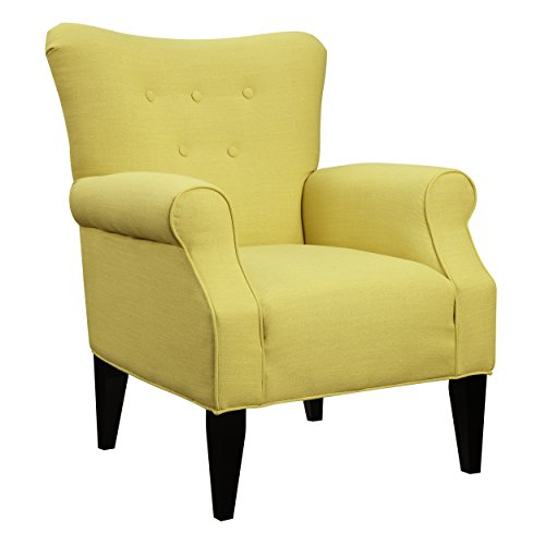 Emerald Home Lydia Sensu Citrine Accent Chair with Button Tufting And Roll (Citrine Accents)