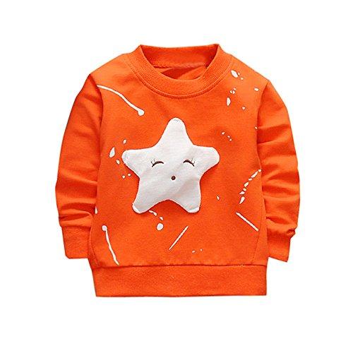 Boy Girl Baby Smile Star Printed Cotton Long Sleeve Sweatshirt Top (6M, Orange) ()