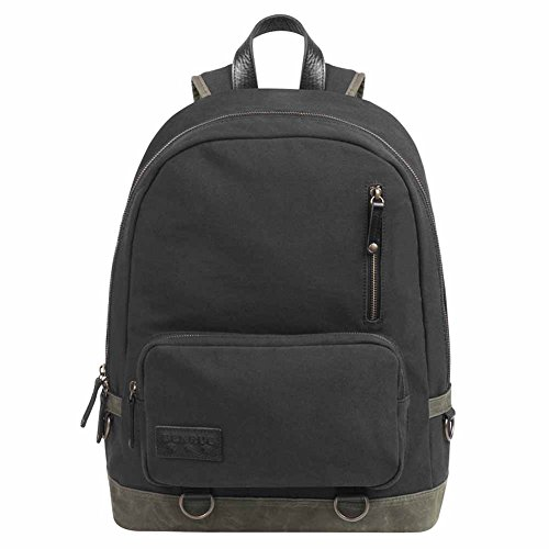 BENRUS Rucksack Backpack in Black and Oliive Waxed Canvas by Benrus
