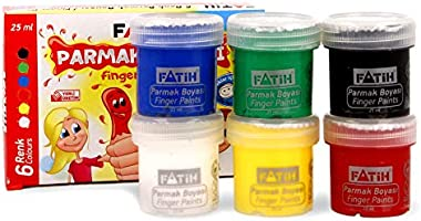 Krevo Art Fingerfarben, Leuchtkräftig und deckend, Auswaschbar und Ungiftig, TÜV Nord, CE, EN71 Zertifiziert - 6x25ml -...