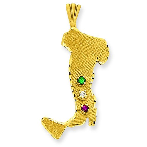 Charm Boot Pendant Gold (14K Yellow Gold Italy Charm Pendant Jewelry Boot)
