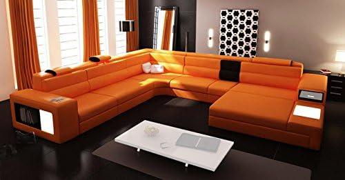 Deal of the week: Polaris Italian Leather Sectional Sofa 2205 Orange