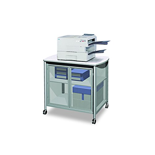 Impromptu Deluxe Machine Stand - Safco Products Impromptu Mobile Print Stand with Doors 1859GR, Grey, 200 lbs. Capacity, Contemporary Design, Swivel Wheels