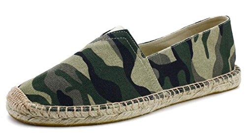 IDIFU Mens Breathable Camouflage Slip On Low Top Canvas Espadrilles Loafers Green 74BvSduJAr