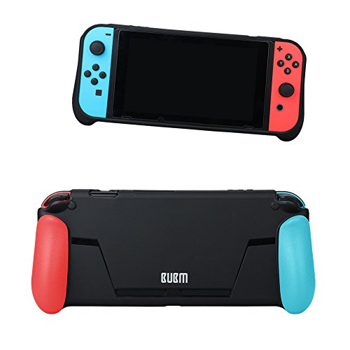 BUBM Protective Case Cover for Nintendo Switch,Comfortable Soft TPU Shell Handle Grip with Game Card Slot Anti-Shock Cover Caps