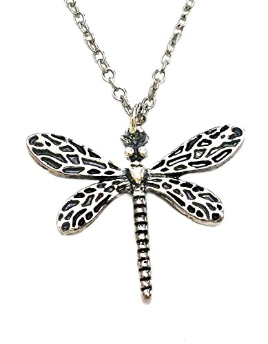 GOT House of Stark. Sansa Silver Tone Dragonfly Pendant Necklace (Sansa Accessory)