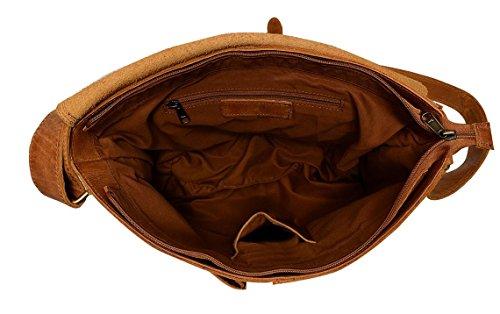 """Cntmp, 17"""" Leder, Handtaschen, Messenger Bag, Businesstaschen, Aktentaschen, Umhängetaschen, Crossover Taschen, , Natur-Leder,"""
