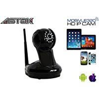 Astak® Mobivue 320 Megapixel HD 1280 x 720p H.264 Wireless/Wired Pan/Tilt IP/Network Cloud Base Camera with Two-Way Audio, IR-Cut Filter Night Vision, Motion Detection, Built-In DVR and 3.6mm Lens (320° Viewing Angle) Plug and Play. Apple/Mac/Android/Windows compatible – Piano Black (P#: CM-MV320)