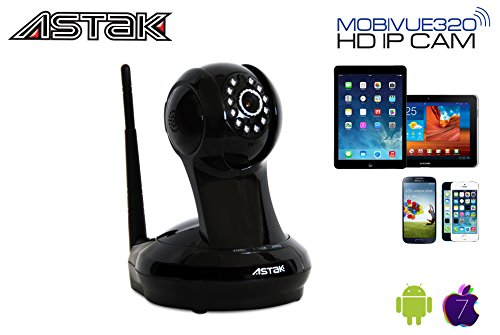 Astak® Mobivue 320 Megapixel HD 1280 x 720p H.264 Wireless/Wired Pan/Tilt IP/Network Cloud Base Camera with Two-Way Audio, IR-Cut Filter Night Vision, Motion Detection, Built-In DVR and 3.6mm Lens (320° Viewing Angle) Plug and Play. Apple/Mac/Android/Windows compatible - Piano Black (P#: CM-MV320)