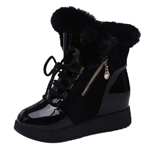 TPulling Herbst Und Winter Schuhe Mode Damen Schneeschuhe Weibliche Höhere Plüsch Stiefel Spitze Plus Samt Warme Baumwolle Stiefel Schwarz