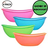 TigerChef 80 Ounce Neon Glow In The Dark Under Blacklight Colored Heavy Duty Disposable Plastic Oval Contoured Bowls Set In Pink Blue Green Orange Set Of 4 (80 Oz Oval Bowl, Multi-Colored)