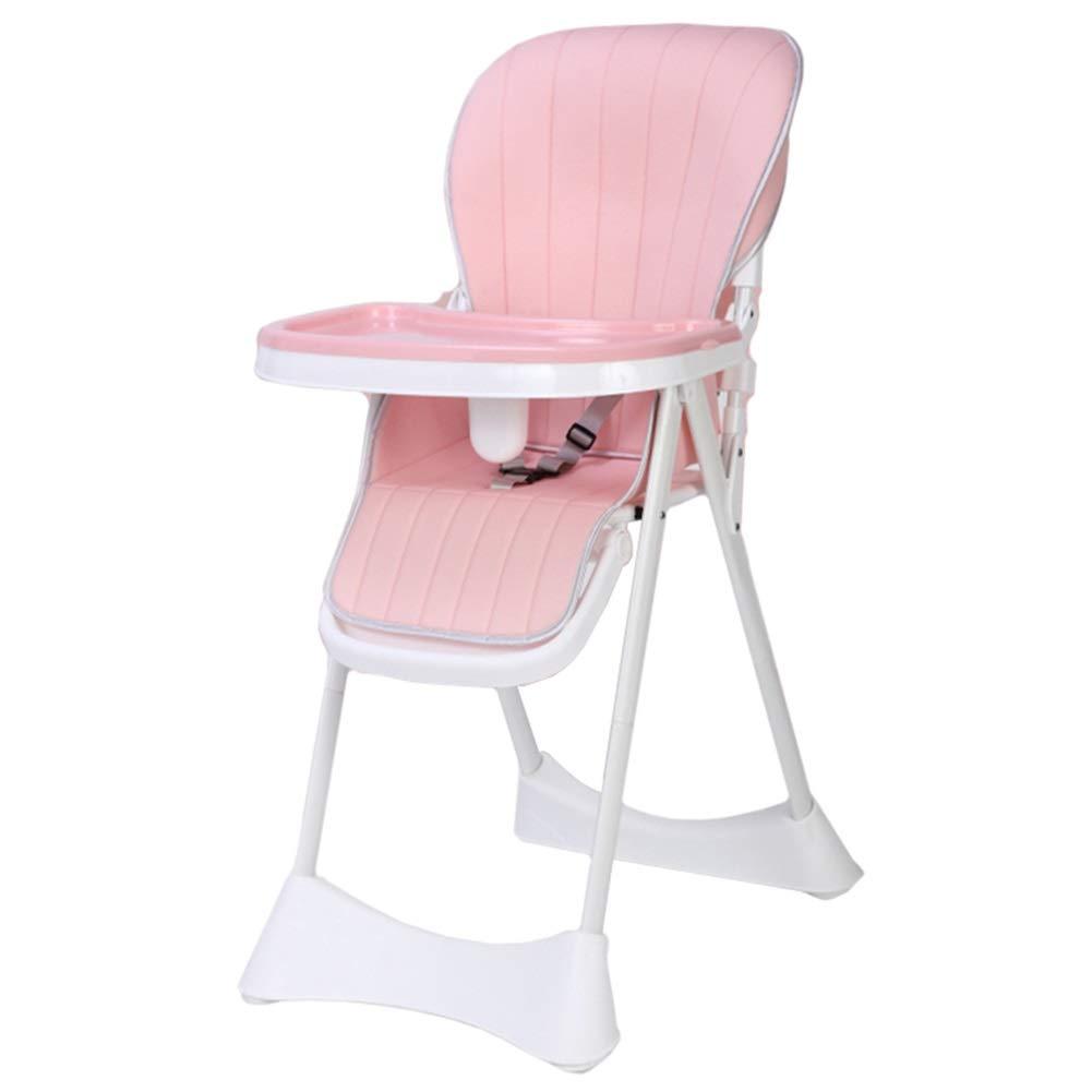 LXLA - ポータブル折りたたみハイチェア、赤ちゃんと幼児用 - 5ポジショントレイ、3点式ハーネス、調節可能な脚付き (色 : Pink)  Pink B07NS9ZTS4