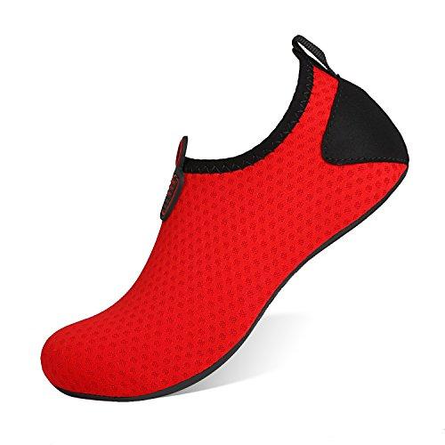 HEETA Barefoot Water Sports Shoes for Women Men Quick Dry Aqua Socks for Beach Pool Swim Yoga Dot_Red XL