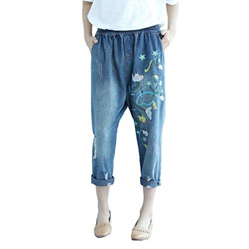Elastica Vita Casuale Ricamo Scuro Retro Moda Con Denim Jeans Inverno Wanyang Pantaloni Autunno Creativo E Donne Blu x8w101qpz