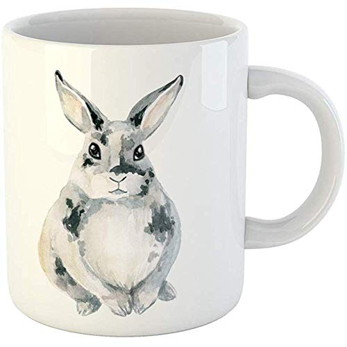 (Funny Coffee Tea Mug Gift 11 Ounces Funny Ceramic Animal Gray Spotted Rabbit Sitting Watercolor Is Bunny Gifts For Family Friends Coworkers Boss Mug)