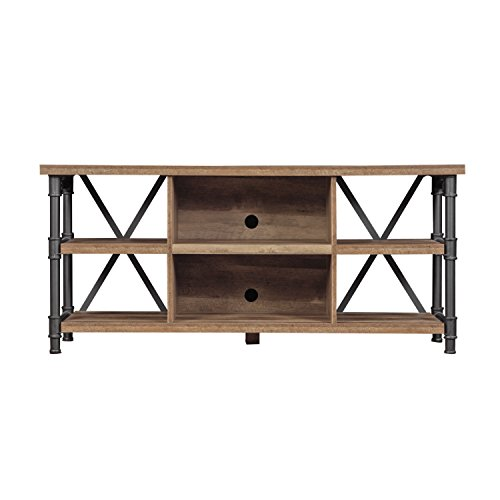 (Bailys Wooden TV Stand in Black Metal Legs with Open Storage Shelves for 60 in. Size TV 24'' H x 54'' W x 15.7'' D)