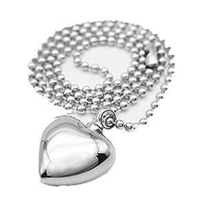 Collar de cenizas-urna forma de corazón acero inoxidable, color plateado