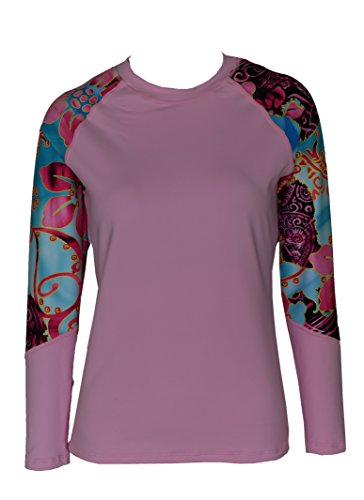 Private Island Hawaii Women UV Wetsuits Long Raglan Sleeve Rash Guard Top Pink with Skyblue Pink XX-Large