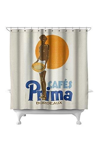 Cafes Prima Vintage Poster (artist: Dryden, Ernst) France c. 1928 (71x74 Polyester Shower Curtain)
