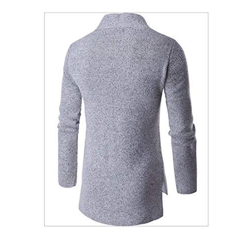 Vintage Hombres E Cardigan Abrigo Invierno Gris Hecho Otoño Punto Cuello De Chaqueta Suéter Moda Huixin Zgqpwx0T