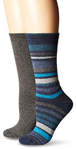 (HUE Women's Soft Knit Crew Boot Socks 2 Pair Pack, Assorted, Striped Flat Navy, One)