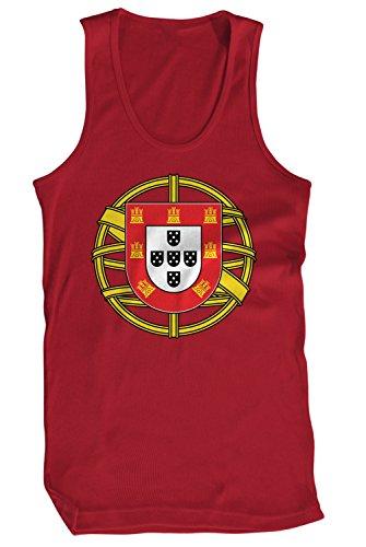 Portugal Coat - Amdesco Men's Coat of Arms of Portugal, Portuguese Pride Tank Top, Cardinal Red Small
