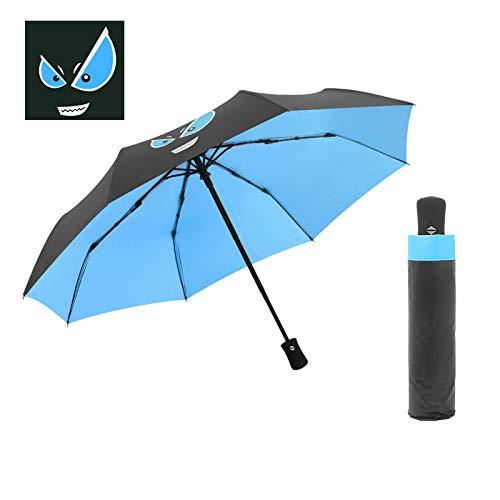 GGJYW Fully Automatic Demon Black Plastic Umbrella to Increase Wind Resistance Folding Sunscreen Anti-UV Umbrella, Sky Blue Little Devil (Automatic) (Under The Umbrella Diameter 98CM)
