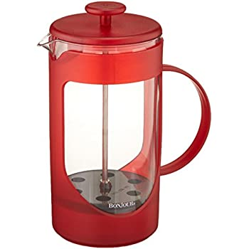 BonJour Coffee Unbreakable Plastic French Press, 33.8-Ounce, Ami-Matin(tm), Red