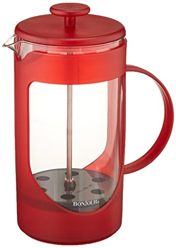 BonJour Coffee Unbreakable Plastic French Press, 33.8-Ounce, Ami-Matin(tm), Red -