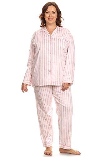 PB COUTURE Womens Plus Size Poplin Pajamas Long Cotton Pj Set Pink - Cotton Poplin Pajama