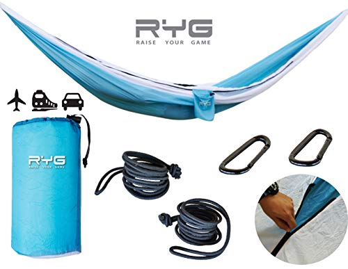 - Raise Your Game RYG Portable Hammock, Heavy Duty Lightweight Parachute Quality Fabric, Indoor Outdoor Weatherproof Single & Double Hammocks, Adjustable Camping Swing for Hiking Travel (Glacier Blue)
