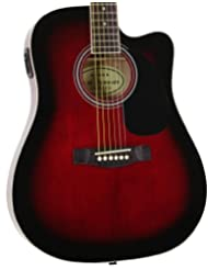 Red Full Size Thinline Acoustic Electric Guitar with Free Gig...