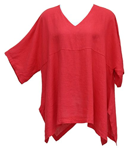 Match Point Women's Linen Kimono Oversized Tunic Red S - 2X (2X (Bust 62