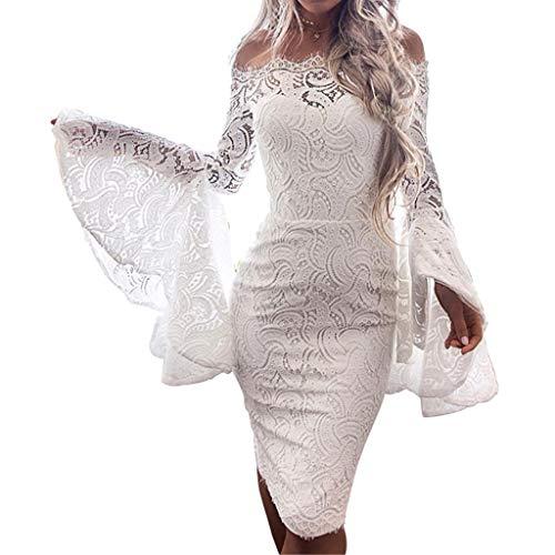 xy Lace Flare Sleeve Solid Slash-Neck Lace Up Sheath Mini Dress(White,XL) ()
