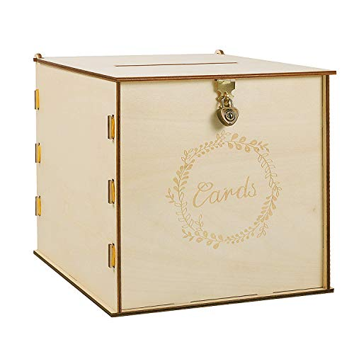 "Wooden Wedding Card Box with Security Heart Lock,Rustic Wedding Envelope Box, Decorative Gift Card Box , Perfect for Weddings, Baby Showers, Birthdays, Graduations, 10.2"" x 10.2"" x 10.2"" (Original)"
