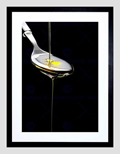 Black Olive Spoon - Olive Oil Spoon Pouring Kitchen Black Frame Framed Art Print Picture B12X8833