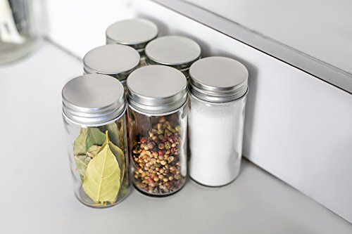 Nellam French Round Glass Spice Jars – Set of 24 with Shaker Lids and Chalkboard Sticker Labels, Small 4oz Bottles - Stackable Herbs and Spices Containers - Decorative Organizers in Silver by Nellam (Image #6)