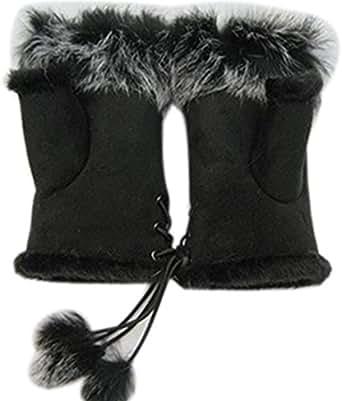 Ieasysexy Winter Hand Warmer Faux Rabbit Fur Leather Lady