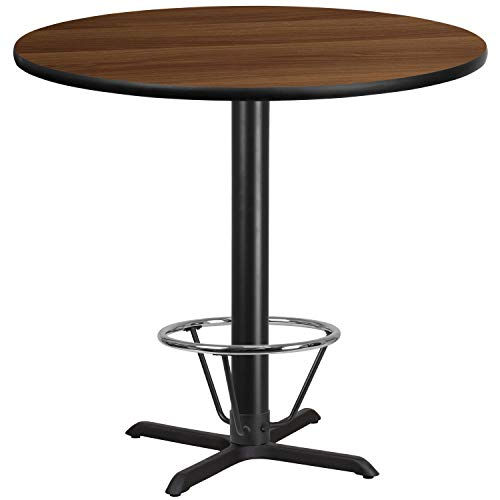 (MFO 42'' Round Walnut Laminate Table Top with 33'' x 33'' Bar Height Table Base and Foot Ring)