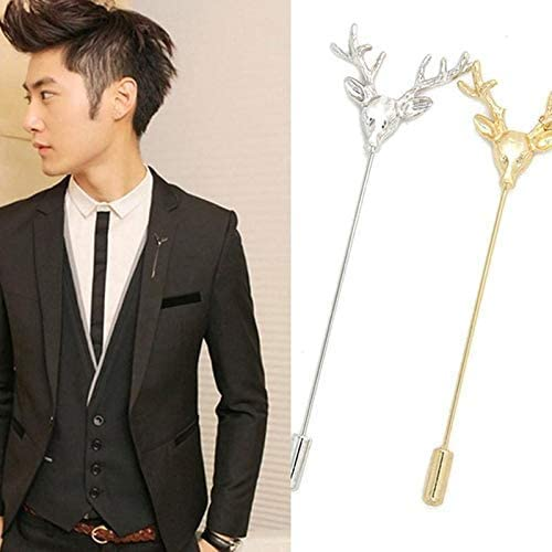 YRUI 1PCS Christmas Antler Brooch Female Brooch Pins Alloy Weddings Engagements Valentines Day Birthdays Anniversaries Gold 3cm
