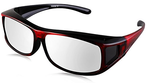 TINHAO Polarized Solar Shield Fitover Sunglasses - Wear Over Prescription Glasses.Mirrored lenses (Square-colorful, - Over Glasses You Can Sunglasses Wear Regular