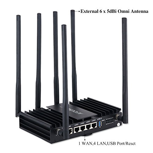 AFOUNDRY High Power Dual Band Wireless WiFi Router, 1200Mbps Gigabit Computer Router with 6 External Antennas, 3 Processors,Best Enterprise Router for Business,Large Home,Villas by AFOUNDRY (Image #5)