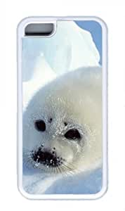 Baby Harp Seal Iphone 5C White Sides Rubber Shell TPU Case by Sakuraelieechyan