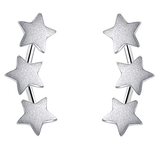 - Star Earrings Studs Sterling Silver Climber Stud Earrings Shooting Star Earrings Star Stud Earrings for Women Girls Sterling Silver Anniversary Gifts for Her Christmas Gifts Hypoallergenic