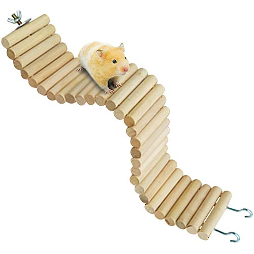 Syrian Hamster Bendy Long Wood Bridges,Dwarf Hamster Bendable Ladder Hideout Toys,Gerbil Chewing Natural Wooden Stuff for Teeth,Hamsters Cage Ramp Climbing Activity for Rodents,Mouse,Mice,Rat (Dwarf Hamster Cages Under $20)